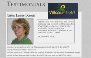 testimonial from sister lesley bossert